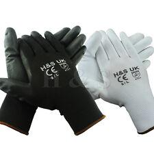 12 pares de alta calidad de Nylon Negro PU Seguridad Guantes de Trabajo Constructores Jardinería de agarre