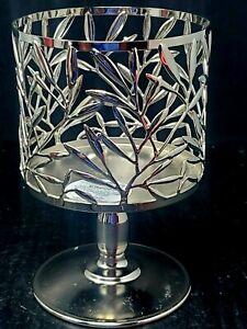 Bath and Body Works 3 Wick Candle Pedestal Holder Vine Leaf Pattern RETIRED
