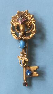 Vintage Georgian Acrostic Style Gold Tone Brooch; Multiple Stone Door Key