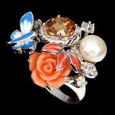Big Beauteous White Pearl Morganite & Cz 925 Silver Flower Enamel Ring Sz 8