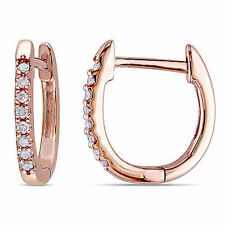 Amour 10k Rose Pink Gold 1/10 ct TDW Diamond Cuff Earrings G-H I1-I2