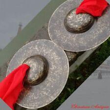 """11"""" Tibetan Temple Ritual Bell Faqi Bell Bronze Cymbals Hand Bell 青銅大帽黑镲鈸#1595"""