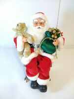 "14"" Animated Santa Claus In Rocking Chair Christmas Decoration Plays 17 Songs"