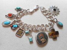 Sterling Silver Southwest Charm Bracelet Lots of Stones, Vintage Charms   200222