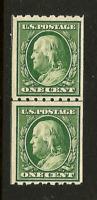 US #390 ~  MNH OG 1910 SL Wmk Perf 8.5 [Horizontally] Vertical Line Coil Pair