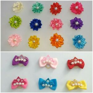 Single Pretty Dog & Puppy Hair Bands Top Knot Grooming Bows Shih Tzu Yorkie etc