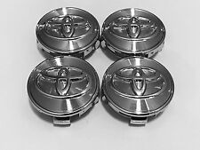 TOYOTA WHEEL CENTER CAPS 4pc SET, CHROME BASE CHROME LOGO RIM HUB  62MM EMBLEM K