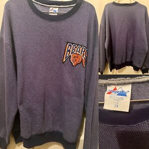 Rare NFL Chicago Bears Majestic Crewneck Sweater Made in USA Mens XXL