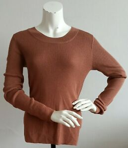 H&M brown long sleeve round neck ribbed jumper UK size L
