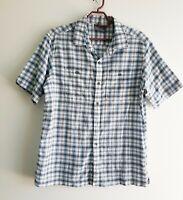 Vintage Kathmandu Mens Check Blue & White Short Sleeve Button Shirt Size S