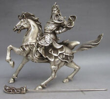 Ancient Tibet Silver Warrior God Guan Yu God Statue
