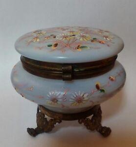 Antique Dresser Vanity Powder Jar,  Footed Blue Satin Glass Pnted Enamel Flowers
