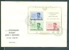 Zypern 1965 Block 3 auf Erstagsbrief 1. Todestag von Kennedy Kat. 100 Euro