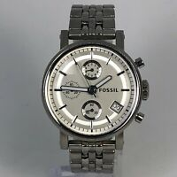 Read Fossil Unisex Boyfriend ES2198 Silver Stainless Steel Quartz Chrono Watch