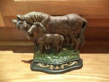 Vintage Cast Iron Door Stop Horse & Foal - Decoration Rare!