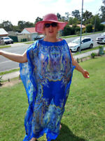 NEW BLUE Handmade SILK Kaftan Plus Size Maxi Beach Caftan Resort Wear