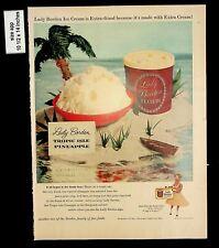 1956 Tropic Isle Pineapple Lady Borden ice Cream Vintage Print Ad 8245