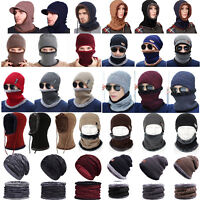 Men Women Winter Beanie Hat And Scarf Set Warm Crochet Knitted Fleece Ski Caps