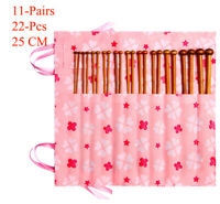 22pcs Bamboo Knitting Needles Set in Knitting Needle Case UK Size 11 9 8 7 6 5 4