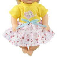 Puppen Kleidung Sommer Kleid gelb rosa für 30 bis 35 cm Puppen, Nr. 199c