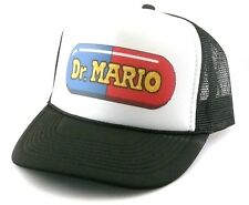 Dr. Mario Trucker Hat mesh hat snap back hat black Mario brothers video game hat