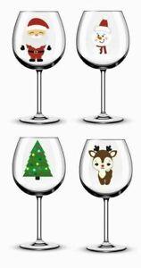 x12 Christmas Icons Santa Wine Glass/ Bauble/ Mug Printed Vinyl Stickers N66
