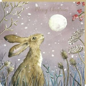 TRACKS - LOVE COUNTRY - CHRISTMAS CARD - BERRIES & SNOWFLAKES HARE - SINGLE CARD