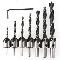 Flute Countersink Drills Bit 7pcs HSS 5 Reamer Set Woodworking Chamfer 3-10mm