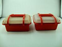 Vintage Lot Of 2 Tupperware Pak N Carry Lunchbox 1254 In Paprika Orange 12 Piece