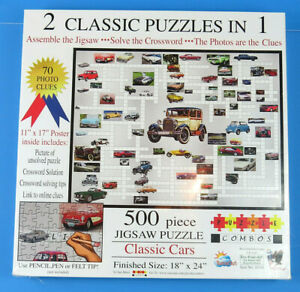 Sunsout 500 Piece Jigsaw Puzzle Classic Cars Crossword Puzzle 2 In 1