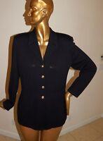 St Johns Collection Black Santana Knit Long Jacket Blazer Gold Buttons sz 12