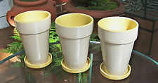 "SET OF 3 7"" TALL CERAMIC PLANTERS WITH SAUCERS FLOWER POTS YELLOW INSIDE"