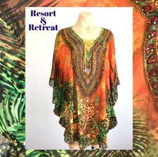 Crystal Embellished Kaftan M/L 14-22, Resort Wear, Tropical Animal Print, Orange