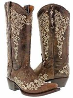 Women's Brown Abilene Leather Western Cowboy Boots Rhinestones Rodeo Cowgirl New