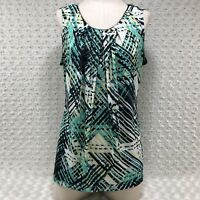 Worthington Womens Sleeveless Blouse Size L Multicolor Geometric Pattern lr4291