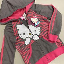 Hello Kitty Hoodie Full Zip Sanrio Gray Pink Stripe Sleeve Pockets Sz M 7/8 NWT