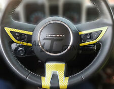 2010-2012 Camaro Yellow Carbon Fiber Full Steering Wheel Accent Decal Cover Wrap