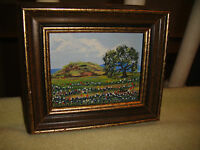 Superb Dolores Walker Miniature Oil Painting On Board-Flower Country Farm-Signed