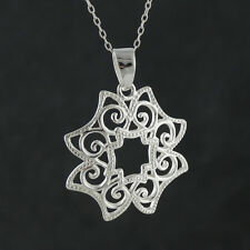 Filigree Flower Necklace - 925 Sterling Silver - Pendant Scroll Pattern Gift NEW