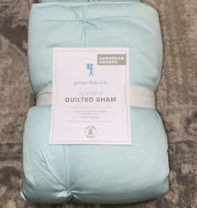 NEW POTTERY BARN KIDS AUDREY AUQA BLUE QUILTED EURO SQUARE PILLOW SHAM