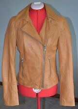 Black Rivet Women Small Brown Genuine Leather Jacket Motorcycle Biker Moto Lapel