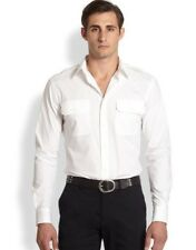 Ralph Lauren Black Label Italy Cotton Poplin Stretch White Military Shirt Medium