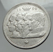 1950 BELGIUM Kings Leopold I II III & Albert I Silver 100 Francs Coin i62893