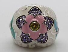 Belle Étoile Sterling Silver Gardenia White Enamel Flower Ring Size 7 3/4