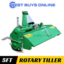 Tractor Rotary Hoe Tiller 5ft Heavy Duty Landscaping Planting Gearbox 50 HP 3PL