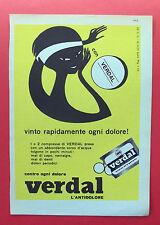 B940-Advertising Pubblicità-1959 - VERDAL L'ANTIDOLORE
