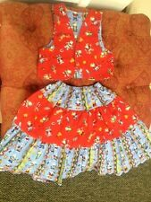 Girls 5/6- Vest Long Skirt Combo Cowgirl Outfit, Red Blue Fun Western Pattern