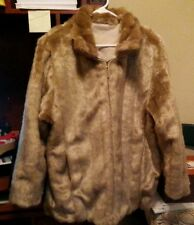 BEAUTIFUL! ATELIER by B THOMAS Faux Mink Reversible Coat Neutral Tones!!! NEW!!
