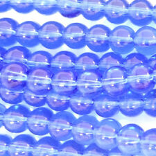 200 CRYSTAL GLASS 4MM ROUND BEADS - Blue - G107