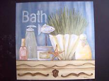"12x12 ""Country Blue Bath"" wall decor bath art print"